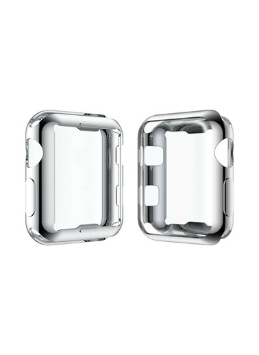 Techmaster Apple Watch 40 mm Silikon Kapak Kılıf Ekran Koruyucu Gri